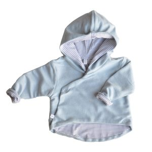 hooded cardigan double face azzurro Bamboom
